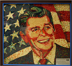 Sweet legacy: Peter Rocha used 10,000 jelly beans to create this Reagan mosaic.