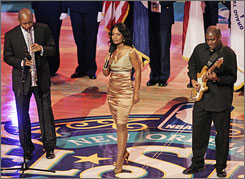 "NBA All-Star weekend gave New Orleans a chance to put its heritage on display, with Branford Marsalis, left, Stephanie Jordan, center, and Jonathan DuBose performing ""The Star-Spangled Banner"" before the game."