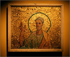 This eighth century mosaic from the oratory of Pope John VII with the image of the apostle Peter is seen at the Florida International Museum in downtown St. Petersburg, Fla.