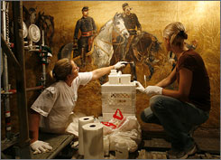 """""""The Battle of Gettysburg,""""  a cyclorama painting, dates back to 1883 and is by French artist Paul Philippoteaux and his team of 20 artists. The painting is being refurbished in the cyclorama building at Gettysburg National Military Park."""