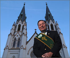 In Savannah, Ga.: John Forbes by the Cathedral of St. John the Baptist, where a Mass will be said before the annual St. Patrick?s Day parade kicks off.