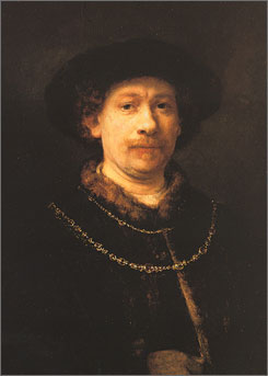 "Rembrandt's  ""Self-Portrait with Beret and Two Gold Chains"" is on loan from Madrid's Thyssen-Bornemisza Museum."