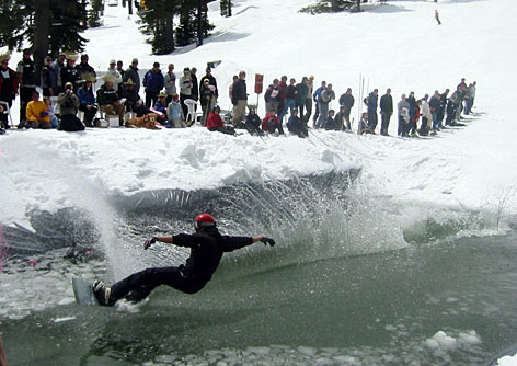 Meltdown: In this Alpine Meadows event, contestants speed down the mountain and skim across a 60-foot pond and back onto the snow.