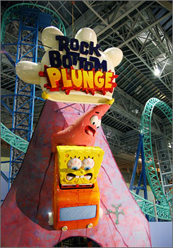 Thrills of Minneapolis: New SpongeBob Square-Pants Rock Bottom Plunge in the Mall of America.