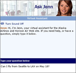For all those frequent fliers who have endured airline call-center unhappiness, Alaska Airlines hopes virtual agent Jenn is the antidote.