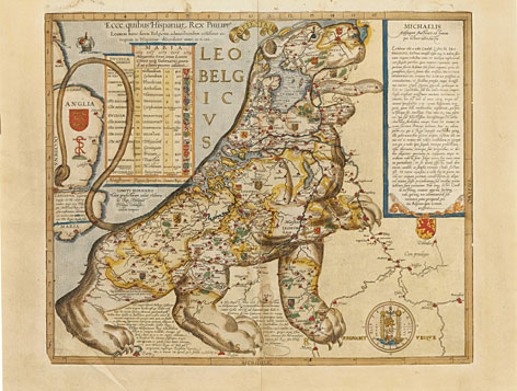 """A  map from 1583 titled """"Michael von Aitzing, The Low Countries in the Form of a Lion, Leo Belgicus (The Belgian Lion),"""" will show in Baltimore during a city-wide festival called """"The Baltimore Festival of Maps."""" The festival, running from March 16 through June 8 features exhibitions of more than 100 of the world's most coveted maps."""