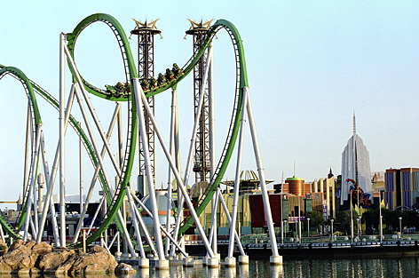 Looking for a thrill? Take a ride on the Incredible Hulk Coaster at Universal Orlando.