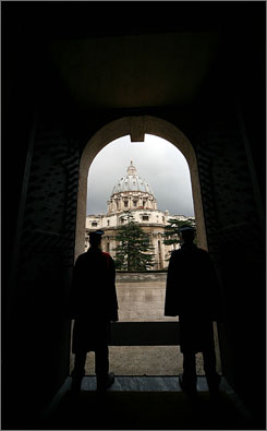 Upon this rock: St. Peter?s Basilica, framed by the Palace of the Governorato in Vatican City, is traditionally held to be the burial site of the Apostle Peter.