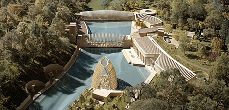 An architect's model of Crystal Bridges, the $50M art museum that Alice Walton plans to build in Bentonville, Ark. Walton has been collecting American art for over 20 years.