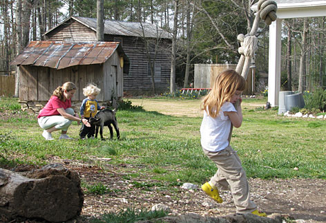 In North Carolina: Christy Santangelo of Chesapeake, Va., and her children Colin, 2, and Samantha, 4, relax and play at The Inn at Celebrity Dairy.