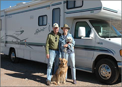 After 14 years, two national forests to go: Suzi and Fred Dow of Bisbee, Ariz., with Dani, front, and Ralf.