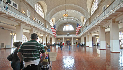 At Ellis Island: Millions of immigrants came through the Great Hall to be registered for entry into the USA.