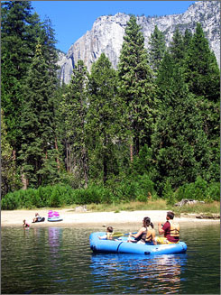In California: Float with the kids along the Merced River, near Yosemite Falls, in Yosemite National Park.
