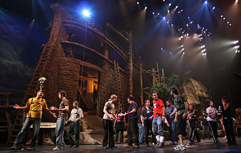 Cast members rehearse a scene from  Noah -- The Musical, one of the biggest new attractions in Branson, Mo., this year. The city's tourism leaders are hopeful they can continue their record of outperforming the national tourism industry, despite a downturn in the economy.