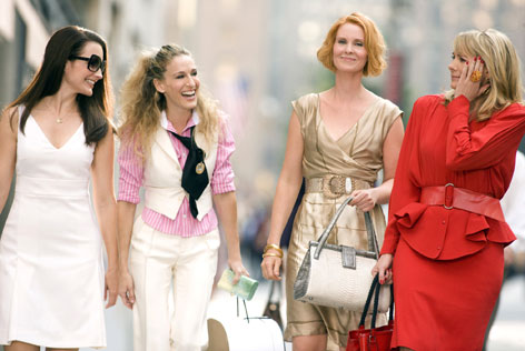 They love New York: Charlotte (Kristin Davis), Carrie (Sarah Jessica Parker), Miranda (Cynthia Nixon) and Samantha (Kim Cattrall), in Sex and the City: The Movie.