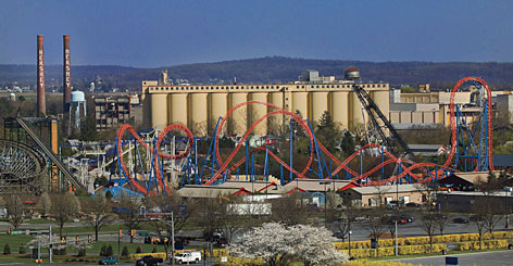 A red-hot roller coaster: Fahrenheit at Hersheypark in Hershey, Pa., claims to have the nation's steepest coaster drop.