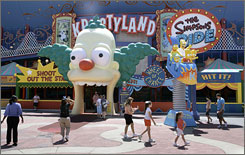 Try to keep your Krusty Burger down: The Simpsons Ride at Universal Studios is entered through Krusty the Clown's mouth.