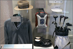 Arnold Palmer memorabilia on display at the newly renovated USGA Museum in Far Hills, N.J.
