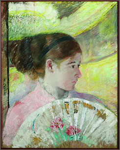 Young Lady in a Loge Gazing to Right, 1880, by Mary Cassatt.
