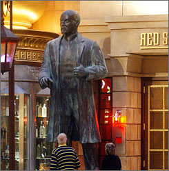 A statue of Vladmir Lenin sits in front of the Red Square restaurant at the Tropicana Casino and Resort in Atlantic City.