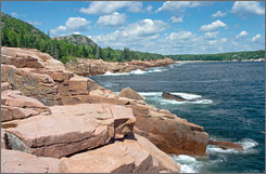 At Acadia National Park in Maine, campgrounds offer inexpensive accommodations close to the rocky coastline.
