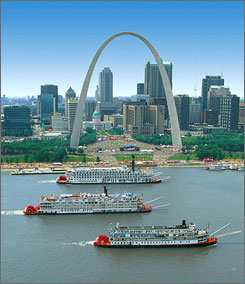 "In St. Louis: The Gateway Arch is open, but the city's ""LIVE on the Levee"" fair has been relocated."