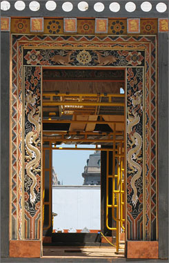 From a kingdom far, far away: A doorway to the Bhutanese Buddhist temple being built on the National Mall for the Smithsonian Folklife Festival.