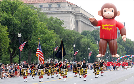 In the nation's capital: Washington's annual Independence Day parade travels down Constitution Avenue.