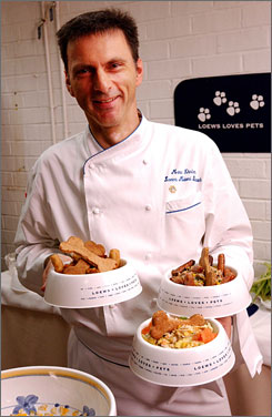 No bones about it: Loews chef Marc Ehrler serves healthy treats for traveling pets.