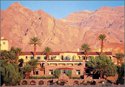 Furnace Creek Inn, Death Valley National Park: Dating from the 1920s, this stone and adobe structure in the Mission style is among the most luxurious in the system. Surrounded by palms, ponds, streams and rock walkways, the hotel is also an oasis of comfort and elegance in one of the harshest climates on earth. The inn's facilities include the world's lowest golf course, four restaurants, a saloon, swimming pools, tennis courts and an airstrip.