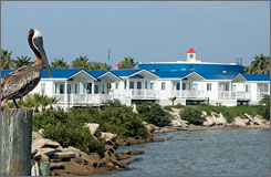 Kampgrounds of America offers these seaside park models on South Padre Island, Texas, as a vacationing alternative.