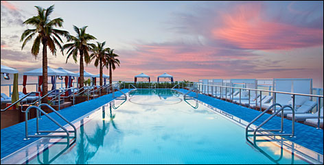 18 stories above Miami Beach: The focal point of Gansevoort South's rooftop is a 110-foot-long elevated pool  so you can see the ocean when you're in the pool.