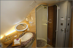 A deluxe restroom in the first class cabin of Emirates' new A380. The airline says it's the only commercial aircraft in the world equipped with showers.