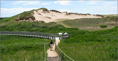 GREENWICH: The newest addition to Prince Edward Island National Park, located on the island's north shore, covers 900 acres and features marshes, woodlands and an unusual migrating dune system.