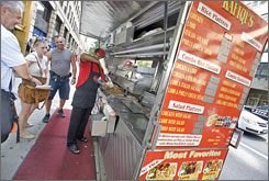Sidewalk vendors provide cheap, easy meal options.