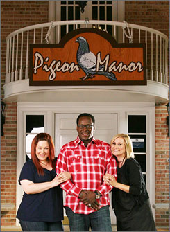 Next venture: They didn't win as country singers, but maybe Carnie Wilson, left, Bobby Brown and Maureen McCormick will do better running this B&B, which was renamed Pigeon Manor for their new CMT show.