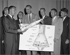 In 1959: LBJ, center, with astronauts Alan Shepard, left, John Glenn, Gus Grissom, Scott Carpenter, Gordon Cooper and Wally Schirra.
