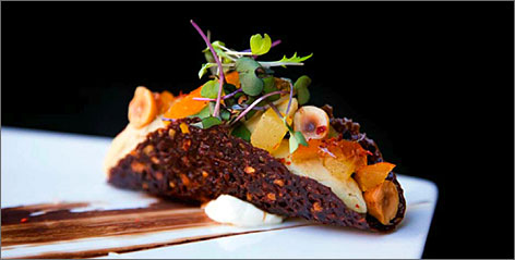 In New York: P*ong offers a foie gras taco with Thai chili pepper jam and cocoa nib crisp.