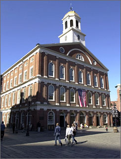 In Boston: Visitors have been coming by car to historic Faneuil Hall.