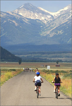 Grand Tetons: Meg Walker, left, and daughter Jen ride through the Antelope Flats.