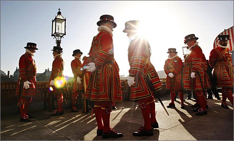 The Yeoman of the Guard stand on the terrace during the State Opening of Parliament in London. Tourists can sit in on parliamentary debates for free.