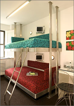 The Pod Hotel offers stylish, affordable lodging within easy walking distance of Rockefeller Center and Times Square.