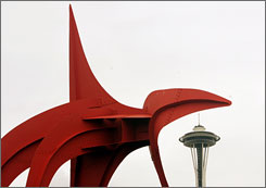 Alexander Calder's Eagle frames a view of the Space Needle at the Olympic Sculpture Park.
