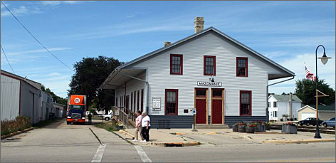 The library in Mazomanie, Wis., was originally a train depot. Nearby are the railroad tracks that spurred the founding of the village in 1855.