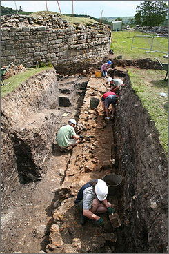 In England: About 300-400 volunteers each year come to Vindolanda to help archaeologists uncover its Roman past.