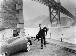 The view in 1958: James Stewart rescues Kim Novak from the San Francisco Bay at Fort Point National Historic Site in Vertigo.