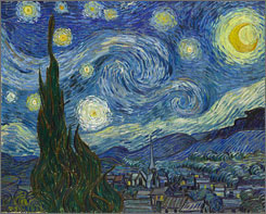 Vincent van Gogh's Starry Night is one of the world's most famous paintings. A new show at New York's Museum of Modern Art brings together 33 of the Dutch artist's nocturnal scenes.
