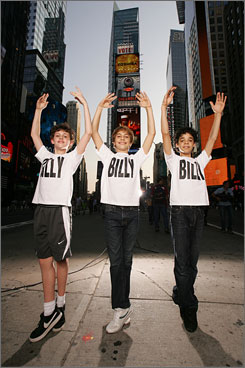 Trent Kowalik (left), Kiril Kulish and David Alvarez, share the lead role of Billy Elliot in the Broadway musical version of the film.