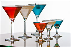 "In D.C.: The ""All-In Elephant"" (left), ""Independent Player"" and ""Double-Down Donkey"" are among the cocktails at the bar at the Topaz Hotel."