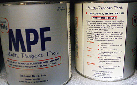 Cans of food from a Cold War fallout shelter are on display in the Odd Wisconsin exhibit at the Wisconsin Historical Museum in Madison.